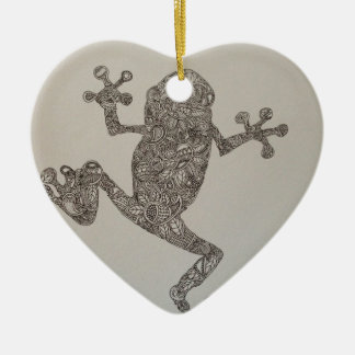 Tree Frog design Double-Sided Heart Ceramic Christmas Ornament