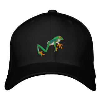 Tree Frog Embroidered Cap-Can Add Text Cap
