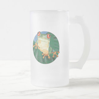 Tree Frog Frosted Glass Beer Mug