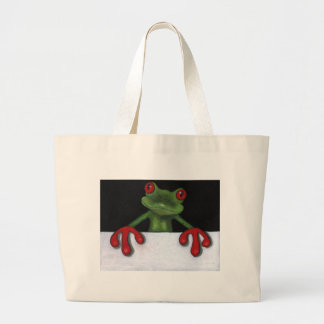 TREE FROG HOLDING SIGN: YOU PICK WORDING LARGE TOTE BAG