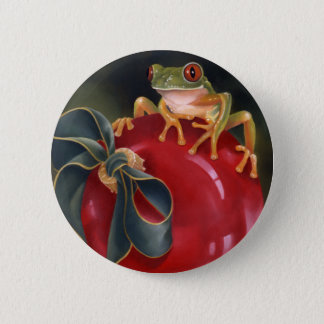 Tree Frog Holiday Button