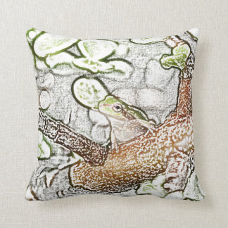 tree frog in bonsai colored pencil animal drawing throw pillow