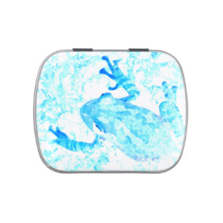 tree frog invert blue white moss animal design jelly belly candy tin