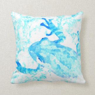 tree frog invert blue white moss animal design throw pillow