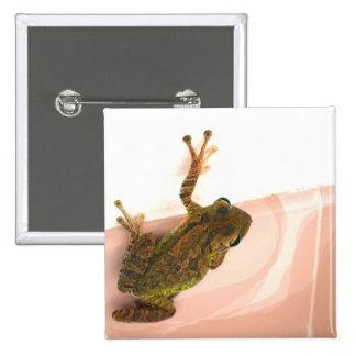 tree frog leg up stylized pink animal pinback buttons