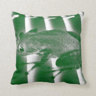 tree frog looking left green sketch animal design throw pillow