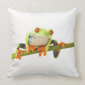Tree frog on stem throw pillow