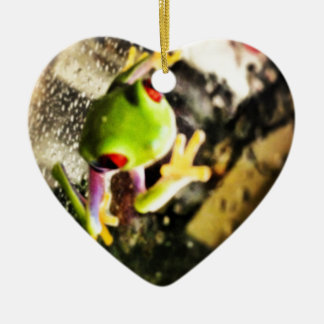Tree frog photo design Double-Sided heart ceramic christmas ornament