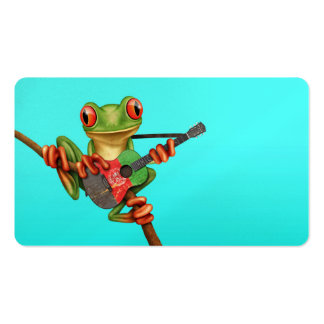 Tree Frog Playing Afghan Flag Guitar Blue Business Card Templates