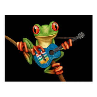 Tree Frog Playing Alberta Flag Guitar Black Postcard