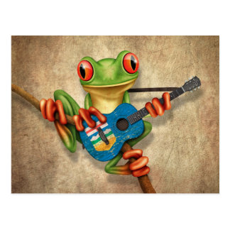 Tree Frog Playing Alberta Flag Guitar Blue Postcard