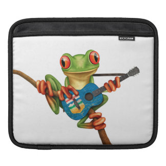Tree Frog Playing Alberta Flag Guitar White iPad Sleeve