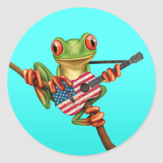 Tree Frog Playing American Flag Guitar Blue Round Sticker