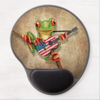 Tree Frog Playing American Flag Guitar Gel Mouse Pad
