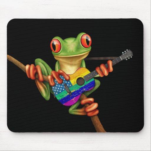 Tree Frog Playing American Rainbow Guitar Black Mousepad