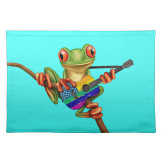 Tree Frog Playing American Rainbow Guitar Blue Placemat