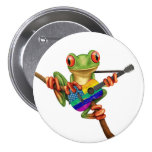 Tree Frog Playing American Rainbow Guitar White 3 Inch Round Button