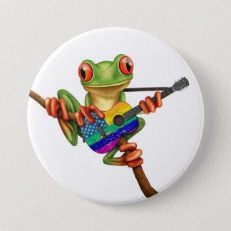 Tree Frog Playing American Rainbow Guitar White Pinback Button
