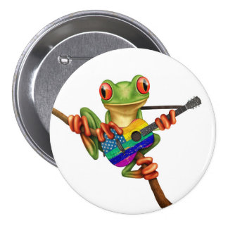 Tree Frog Playing American Rainbow Guitar White Pinback Button