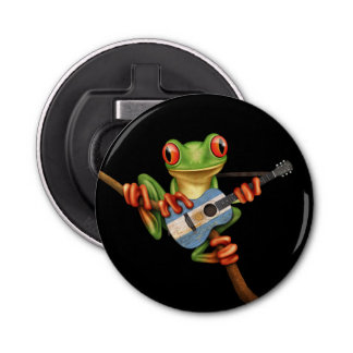 Tree Frog Playing Argentinian Flag Guitar Black Button Bottle Opener