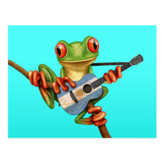 Tree Frog Playing Argentinian Flag Guitar Blue Postcard