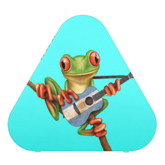 Tree Frog Playing Argentinian Flag Guitar Blue Speaker