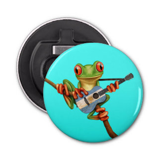 Tree Frog Playing Argentinian Flag Guitar Blue Button Bottle Opener
