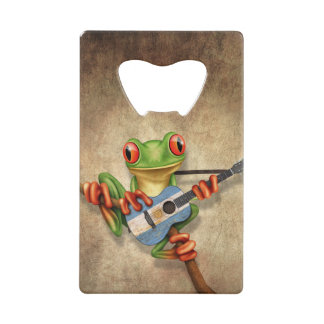 Tree Frog Playing Argentinian Flag Guitar Credit Card Bottle Opener