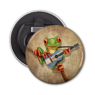 Tree Frog Playing Argentinian Flag Guitar Button Bottle Opener