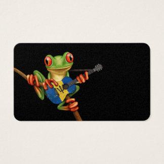 Tree Frog Playing Barbados Flag Guitar Black Business Card