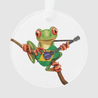 Tree Frog Playing Brazilian Flag Guitar White Ornament