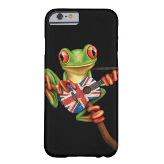 Tree Frog Playing British Flag Guitar Black Barely There iPhone 6 Case