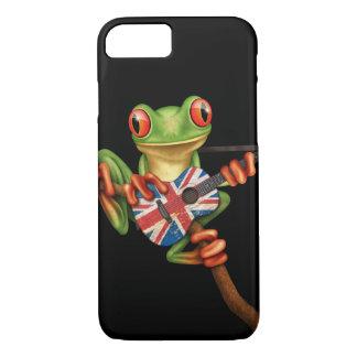 Tree Frog Playing British Flag Guitar Black iPhone 7 Case
