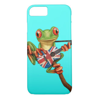 Tree Frog Playing British Flag Guitar Blue iPhone 7 Case