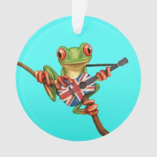 Tree Frog Playing British Flag Guitar Blue Ornament