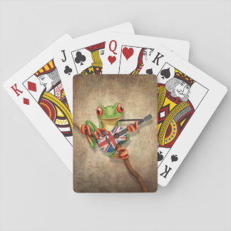 Tree Frog Playing British Flag Guitar Card Deck