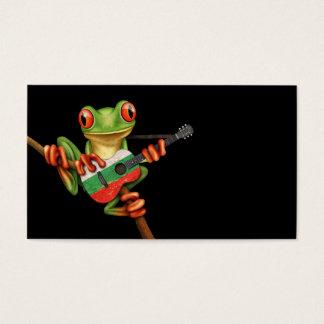 Tree Frog Playing Bulgarian Flag Guitar Black Business Card