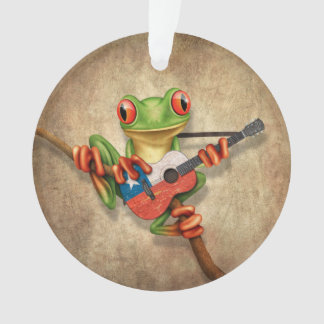 Tree Frog Playing Chilean Flag Guitar Ornament