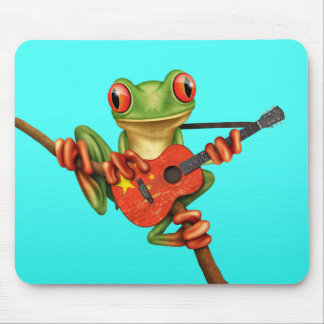 Tree Frog Playing Chinese Flag Guitar Blue Mouse Pad