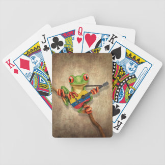 Tree Frog Playing Colombian Flag Guitar Bicycle Playing Cards