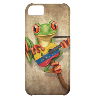 Tree Frog Playing Colombian Flag Guitar Cover For iPhone 5C