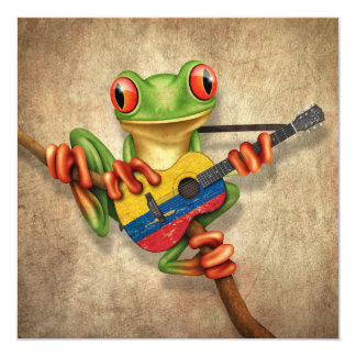 Tree Frog Playing Colombian Flag Guitar Custom Invites