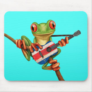Tree Frog Playing Costa Rica Flag Guitar Blue Mouse Pad