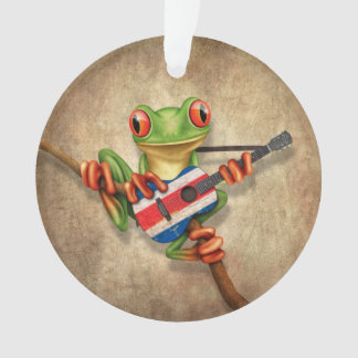Tree Frog Playing Costa Rica Flag Guitar Ornament