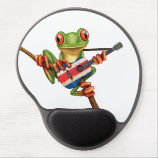 Tree Frog Playing Costa Rica Flag Guitar White Gel Mouse Pad
