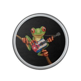 Tree Frog Playing Cuban Flag Guitar Black Bluetooth Speaker