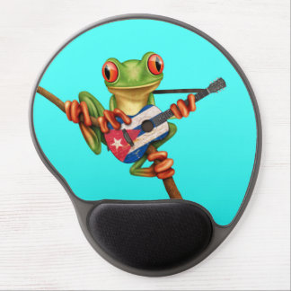 Tree Frog Playing Cuban Flag Guitar Blue Gel Mouse Pad