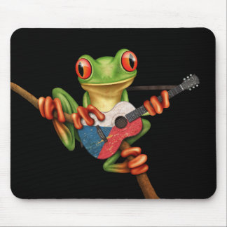 Tree Frog Playing Czech Flag Guitar Black Mouse Pad