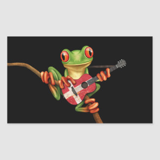 Tree Frog Playing Danish Flag Guitar Black Rectangle Stickers