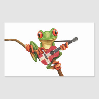 Tree Frog Playing Danish Flag Guitar White Rectangular Sticker